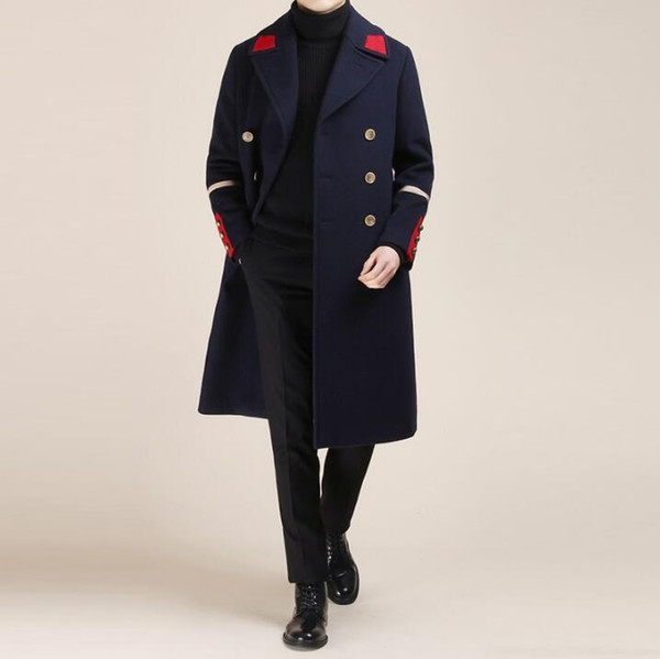 Moda coreana autunno inverno Nuovi uomini giovani Inghilterra lana sottile cashmere giacca a vento lungo Blazer di colore di contrasto cappotto di lana marea giacche maschili