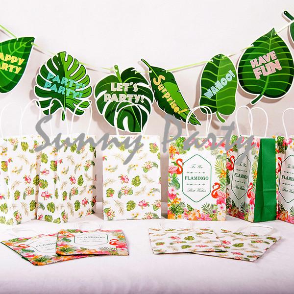 12 шт. / Лот Leaf Plant Theme Party Одноразовая Посуда Подарочная Сумка Plant Party Baby Shower Подарочная Сумка Украшения Поставки