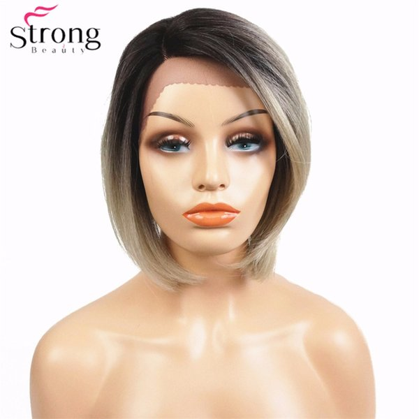 Perruque Synthétique Lace Front Kanekalon Cheveux Femmes Dark Roots Ombre Court Bob Coiffure Perruques Naturelles