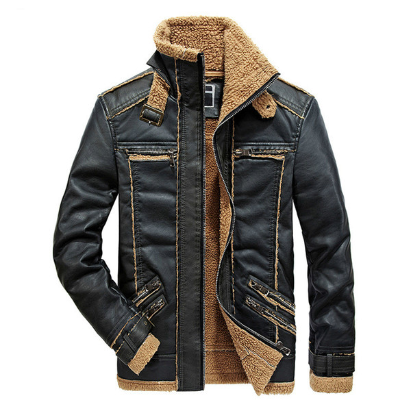 Rongge Winter Men's Leather Jaclets Warm Thick Coats Men Leisure Fashion Stitching Pu Leather Tops Black Jacket Cashmere Inner