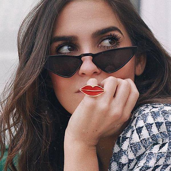 Nueva Moda Popular Labios Rojos Labios Ajuste de Apertura Accesorios de Anillo de Moda Niñas Joyas Estilo Guapo Al Por Mayor