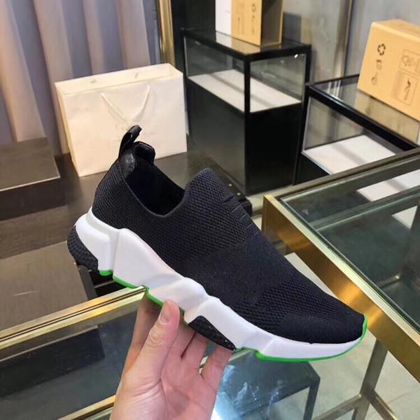 2019 Tasarımcı Ayakkabı Hız Eğitmeni Oreo Üçlü Siyah Yeşil Düz Lüks Moda Çorap Boot Tasarımcı Erkek Kadın Sneakers fz19061201