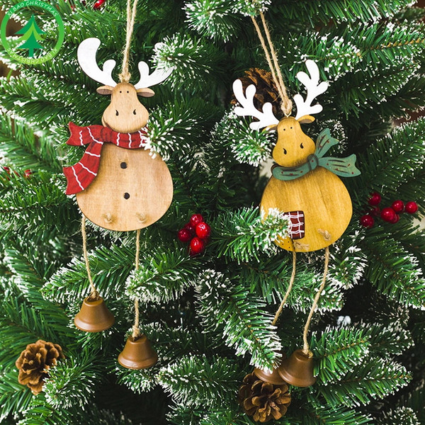 Christmas Wooden Elk Hanger Pendant Christmas Decorations Hanging Ornament Closet Door Window Decoration Christmas Gift free shipping