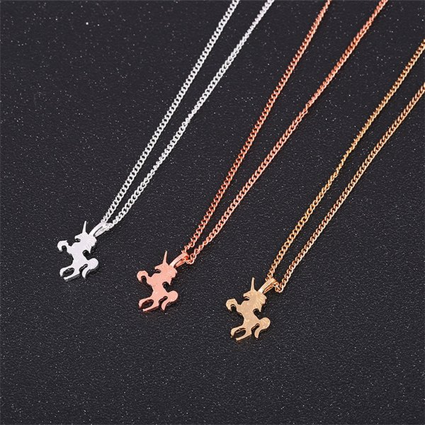 Unicorn Necklaces Jewelry Gold Silver Rose Gold Animal Alloy Pendant With Gift Card Women Necklaces Fashion Jewellery