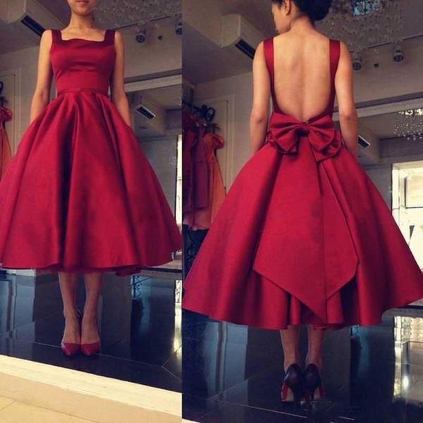 2018 Tea Length A Line Red Bridesmaid Party Dresses Backless Big Bow Square Satin Short Prom Dresses Custom Made Formal Dresses