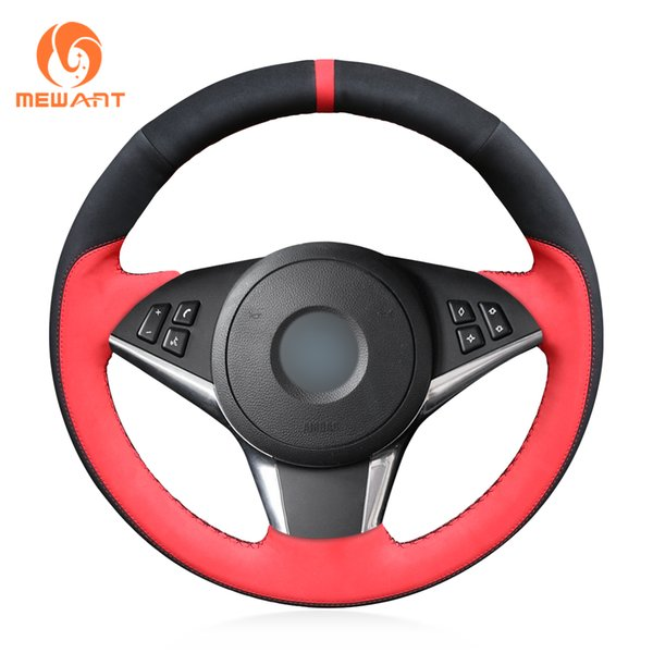 MEWANT Black Suede Red Suede Hand Sew Car Steering Wheel Cover for BMW E60 530d 545i 550i E61 Touring 2005-2009 E63 E64 630i 645Ci 650i