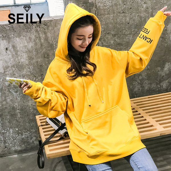 Seily Oversized Women Thick Velvet Fleece Hoodie Korean Pullovers Sweatshirts Casual Long Sleeve Embroidery Hoody Pocket Outwear