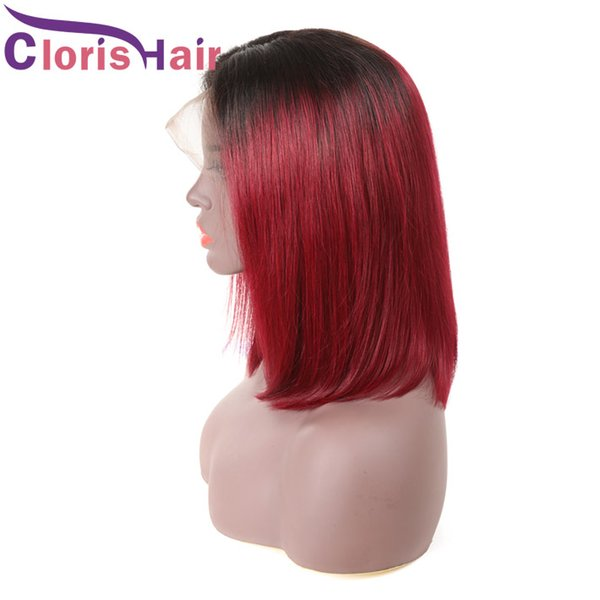 Colored Burgundy Bob Human Hair Lace Front Wigs For Black Women Pre Plucked 1B 99J Short Pixie Malaysian Straight Wig Glueless Red Ombre Wig