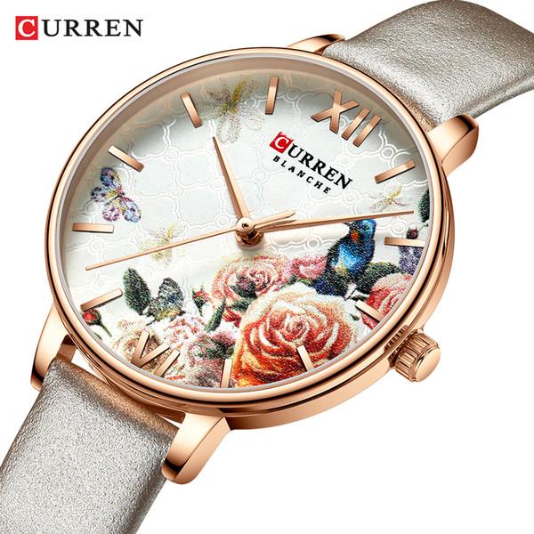 CURREN Güzel Çiçek Tasarım Saatler Kadınlar Moda Casual Deri saatler Bayan İzle Kadın Saat Kadın Kuvars İzle