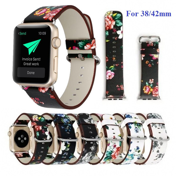 women pastoral flower printing beautiful leather watch bands straps for apple watch iwatch series 1 2 3 38mm 42mm watchbands