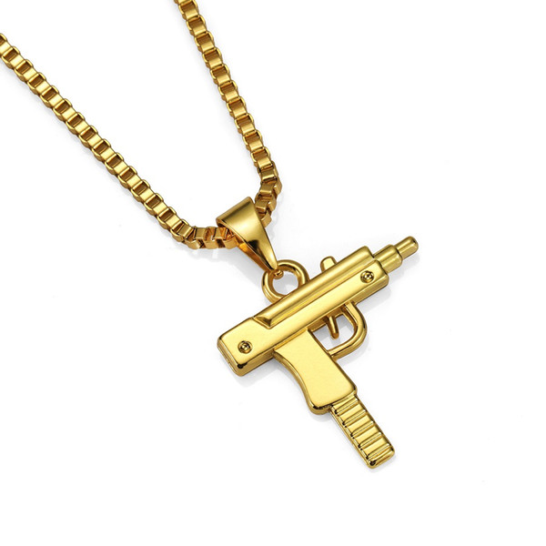 new mens fashion jewelry charm pistol pendant necklace design stainless steel gold color chain punk hip hop jewelry for men gift thumbnail