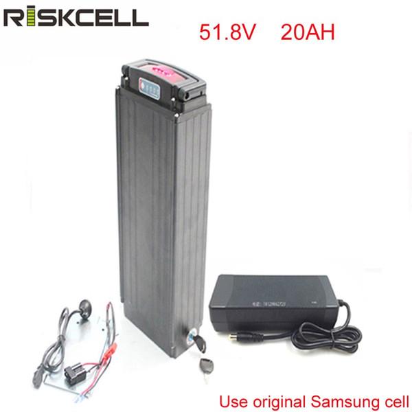 Batterie de support arrière de vélo électrique Batterie au lithium 51.8V 20Ah 1500W Batterie pour li-ion eBike + Voyants d'alimentation