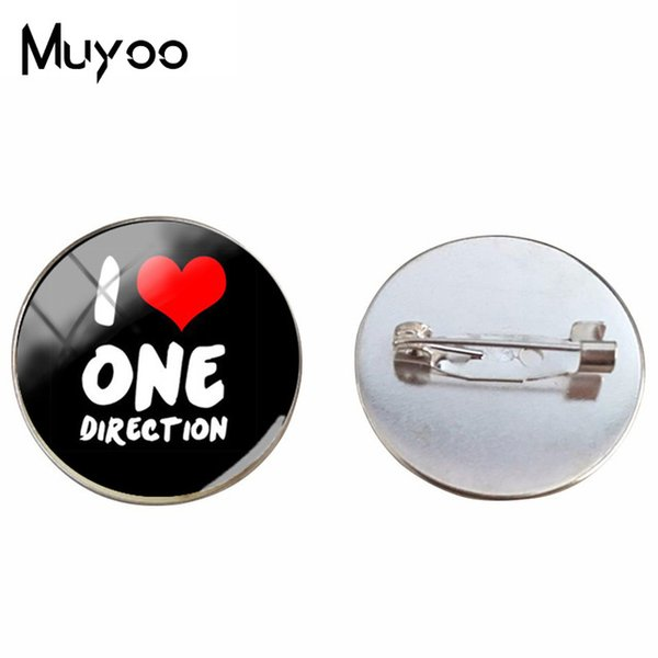 2019 New One Direction ID Brooch Pin Fashion Statement Pins Glass Handmade Jewelry Silver Bronze Photo Brooches ID Brooch