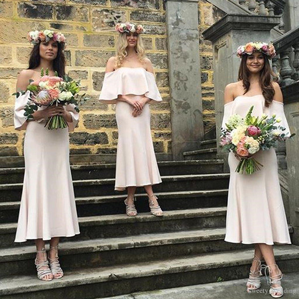 2019 Yaz Bohemian Gelinlik Modelleri Kapalı Omuz Allık Pembe Şifon Ayak Bileği Uzunluk Artı Boyutu Hizmetçi Onur Düğün Konuk Abiye giyim