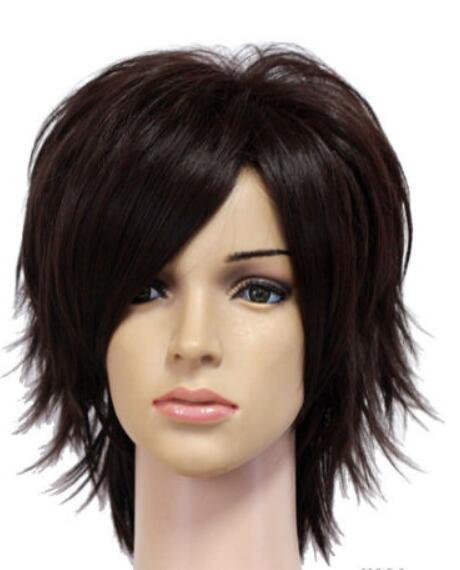 PERUK LL SıCAK satmak Ücretsiz Kargo fairy tail Natsu Dragneel kısa siyah cosplay parti peruk