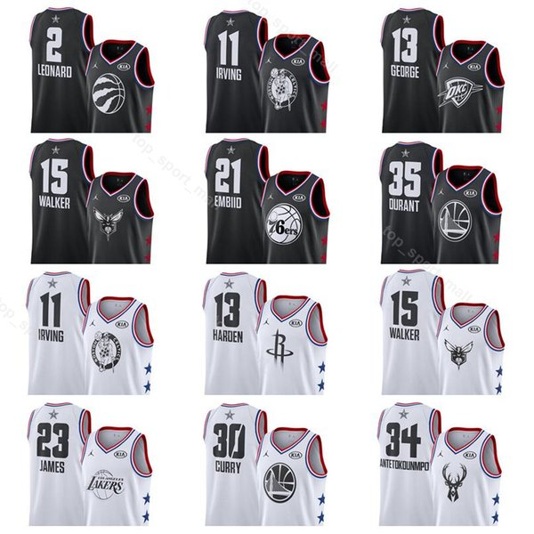 uk availability a4a17 9b687 2019 All 2019 Star Basketball Jerseys All Star Black White Stephen 30 Curry  Kevin Durant Joel 21 Embiid Kawhi Leonard 2 Paul 13 George From Vip_sport,  ...