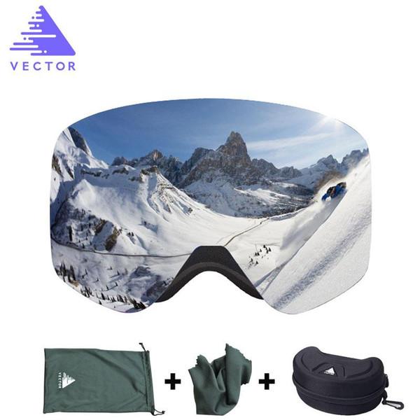 Toptan-VEKTÖR Marka Kayak Gözlükleri Case Çift Lens UV400 Anti-sis Kayak Kar Gözlükleri Kayak Erkek Kadın Kış Snowboard Gözlük HB108