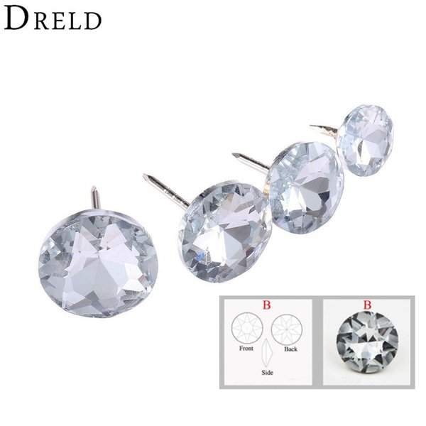top popular ome Improvement DRELD 10Pcs Diamond Crystal Upholstery Nails Buttons Tacks Studs Pins 14 16 18 22mm Sofa Wall Decoration Furniture Access... 2021