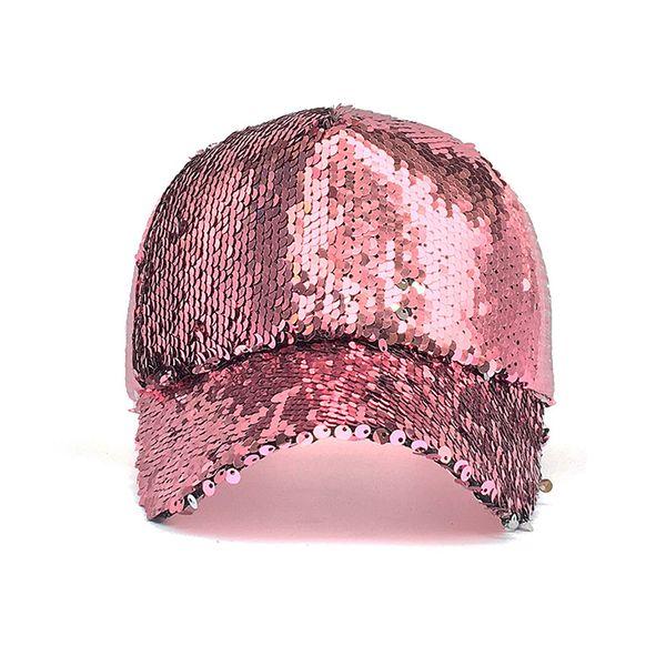 New Fashion Casual Sequin Snapback Baseball Cap Adjustable Baseball Hat Women Summer Spring Black Pink Gold Caps Outdoor