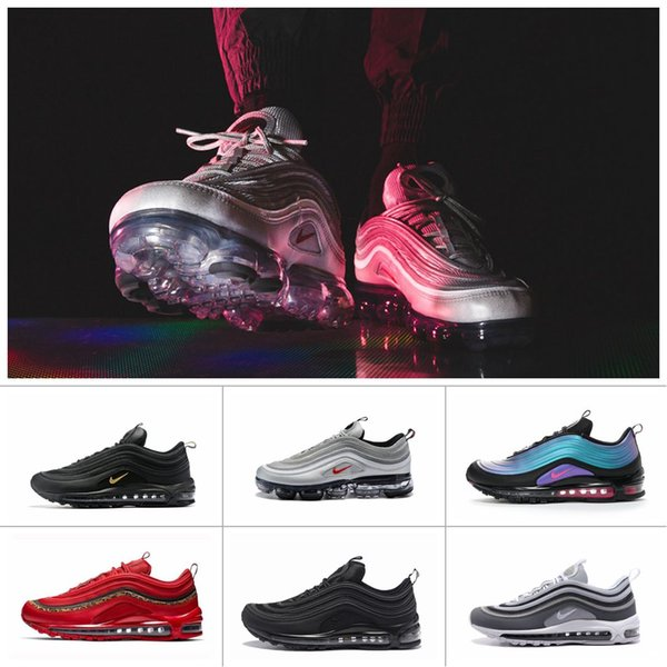 Men Women Air Max 97 TN Cushion Running Shoes Vapors Triple Black Sliver Bullet Leopard Red Athletics Jogging Trekking Sports Sneakers 36 45 Boat