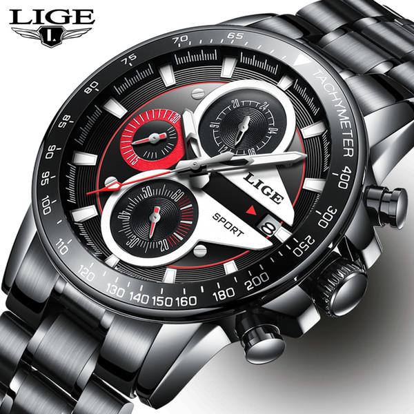 LIGE Herrenuhren Top-marke Luxus Mode Geschäft Quarzuhr Männer Sport Voller Stahl Wasserdicht Schwarz Uhr relogio masculino