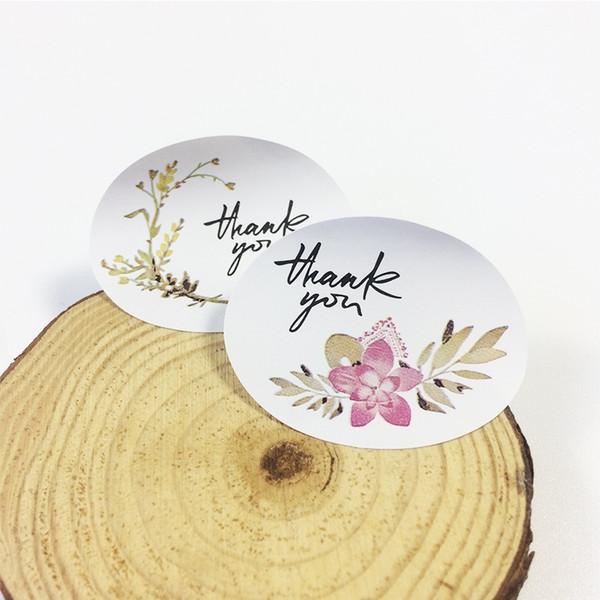 1200 Adet / grup Vintage Çiçek Hediye Mühür Sticker Teşekkür Ederim Düğün Doğum Günü Partisi Çerez Kek Hediye DIY Kağıt Scrapbooking Etiketleri