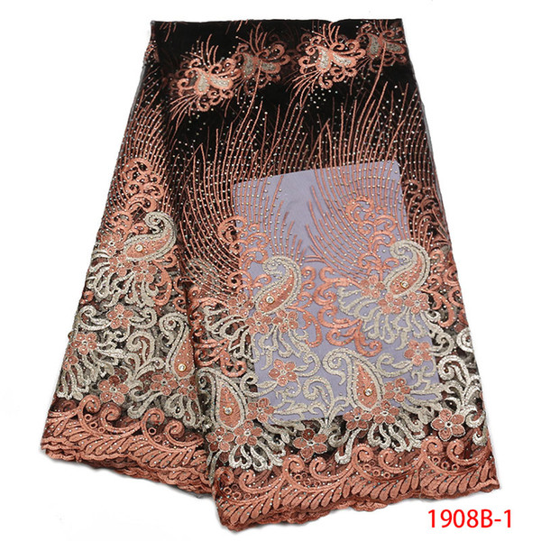 African Tulle Lace Fabric 2018 Latest Tulle Lace with Trim Stone Nigerian Embroidered Tulle Fabric For Women Dress QF1908B