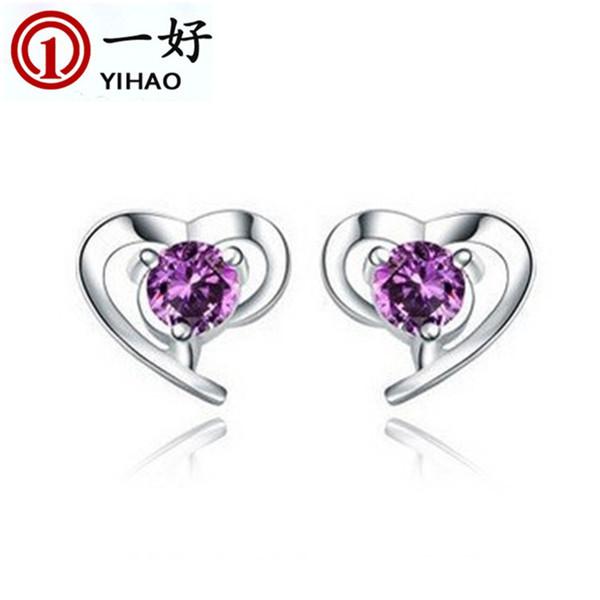 Korean models heart kiss 925 silver jewelry earrings direct small beautiful heart-shaped earrings