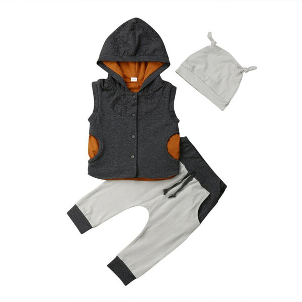 Rahat Çocuklar Yürüyor Bebek Erkek Giysileri Kapüşonlu Yelek Üstleri + Uzun Pantolon + Şapka 3 adet Kıyafetler Set
