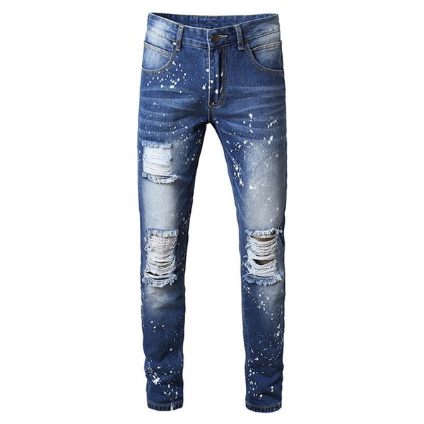 MORUANCLE Fashion Men Destroyed Painted Jeans Pants With Holes Ripped Denim Trousers Straight Distressed Jeans Plus Size 28-42