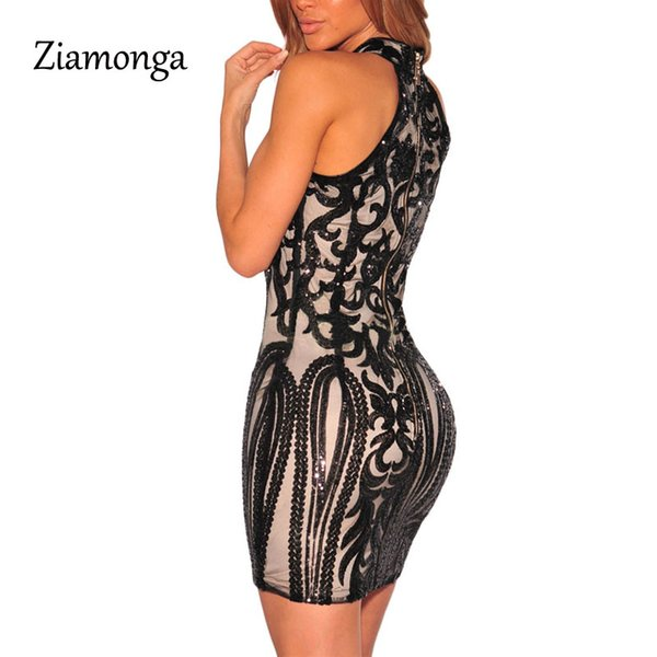Brand Design Women Sexy Halter Backless Sequined Pencil Midi Dress Bandage Prom Party Dance Dress