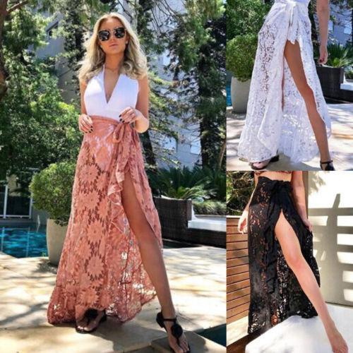 Women Bikini Cover Up Swimwear Sheer Lace Long Beach Maxi Wrap Skirts Sarong Summer Split Skirt Cover-Ups Black White Pink