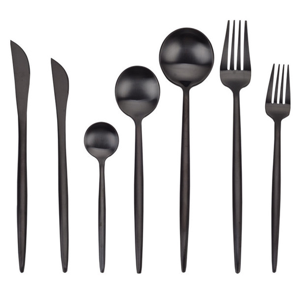 top popular Matte Black Silverware 304 Stainless Steel Cutlery Knife Fork Spoon Tableware Hotel Restaurant Black Flatware Wholesale 2021