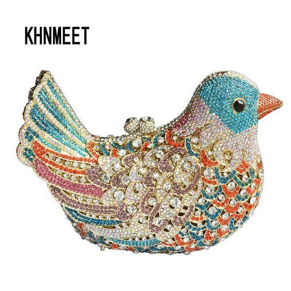 популярные роскошные вечерние сумки блестящие Кристалл женщины клатчи красочные птицы шаблон дамы ужин сумки Клатчи кошелек SC035 D18110106
