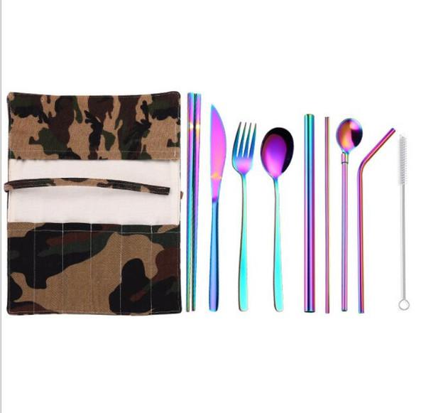 DHL Stainless steel Cutlery Set 9Pcs/Set with Cloth Bag Tea spoon Fork Knife chopsticks straw brush Flatware Dinnerware Set Kitchen Tools