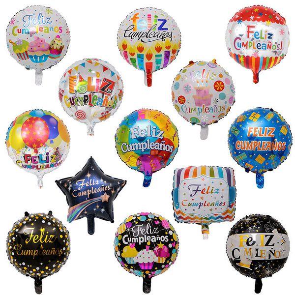 50 pçs / lote 18inch Feliz Cumpleanos Espanhol Aniversário Balões Rodada Mylar Hélio Ballon Feliz Aniversário Balões de Ar Balões de Ar Y19061704