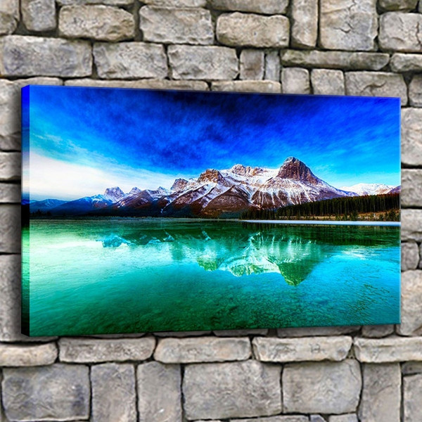 Home Decor Prints Pictures 1 Piece Beautiful Snow Mountain And Lake Scenery Canvas Paintings Living Room Nature Poster Wall Art