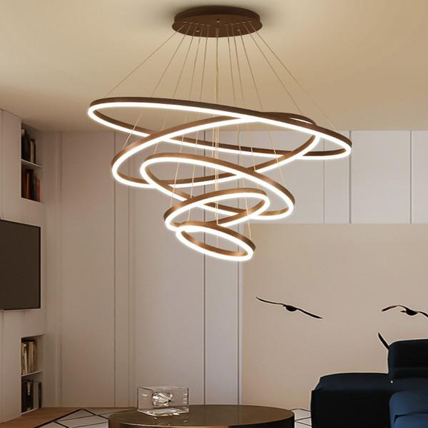 LED Círculo de luces pendientes modernas para sala de estar Interiores Lámparas Los Fixture Con restaurante remoto comedor Decoración de luminarias AC 90-265V