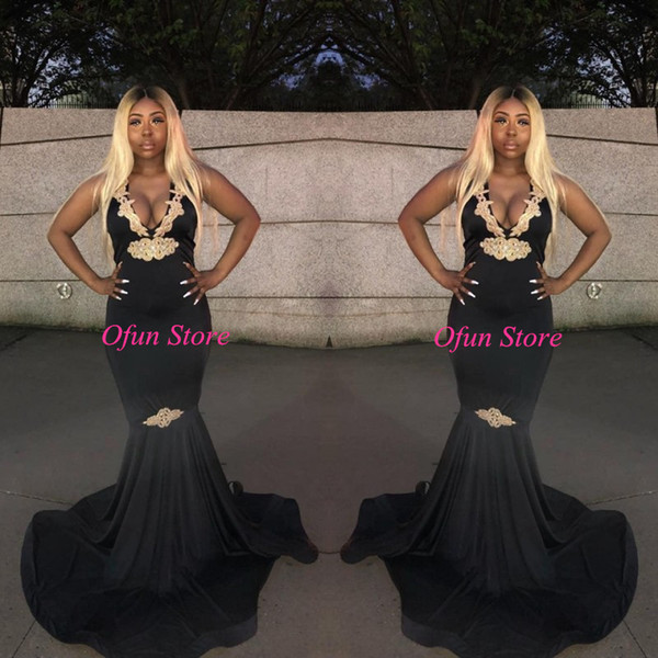 2K19 Deep V Neck Black Sleeveless Mermaid Prom Dresses Plus Size Elastic Satin Sweep Train Formal Evening Gowns With Gold Appliques