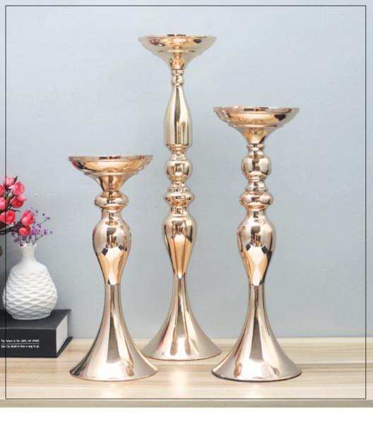 50cm Yükseklik Metal Mumluk Düğün Centrepiece Çiçek Yolu Kurşun altın ve gümüş MMA2867-4 Raf Standı mum