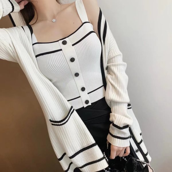 2019 Summer And Fall Black And White Intermittent Color Middle Length V Collar Knitting Cardigan Small Camisole Two Piece Set Female