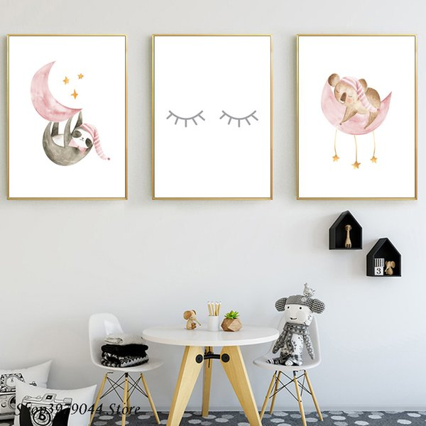 Baby Girl Nursery Pink Wall Art Moon Minimalist Poster Cartoon Panda Painting Nordic Kids Decoration Picture Bedroom Unframed