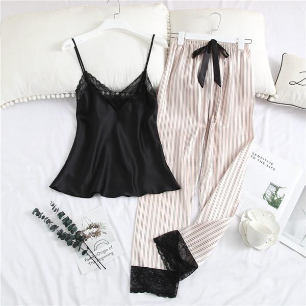 Пижамы для женщин с длинными брюками сатиновый Ice Silk V-образным вырезом в полоску Ремешок с кружевной отделкой Сексуальные пижамы Nightie Комплект женского нижнего белья