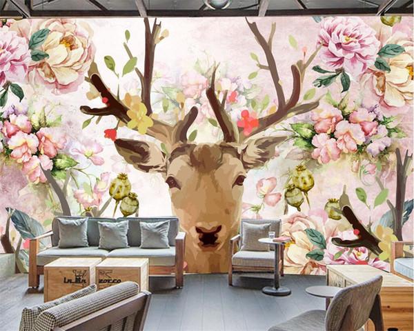 Beibehang 사용자 정의 배경 화면 3D 스테레오 TV 배경 사슴 머리 분홍색 흰색 모란 손으로 그린 벽지 배경 벽화 3D 배경 화면
