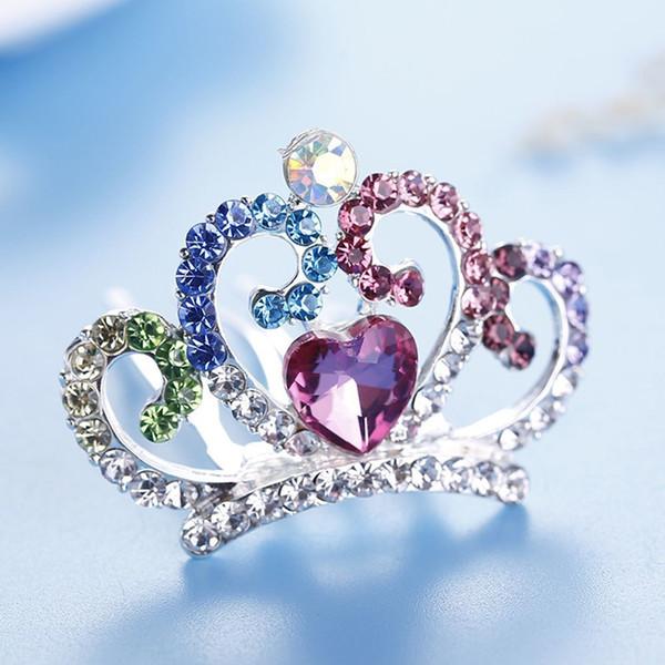 Mini Cute Love Heart Crystal Rhinestone Princess Crown Hair Comb Birthday Party Tiaras For Girls Kids Hair Jewelry Accessories D19011102