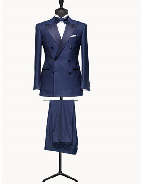 Double-Breasted Groomsmen Peak Lapel Groom Tuxedos Blue Men Suits Wedding/Prom/Dinner Best Man Blazer ( Jacket+Pants+Tie) B609