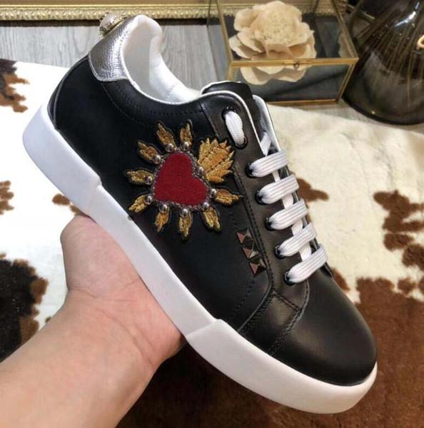 2019 Top Size 35-45 Fashion Man Designer Shoe King Of Love Portofino Leather Sneakers Italian Luxury Shoe Woman Casual Shoes gf11
