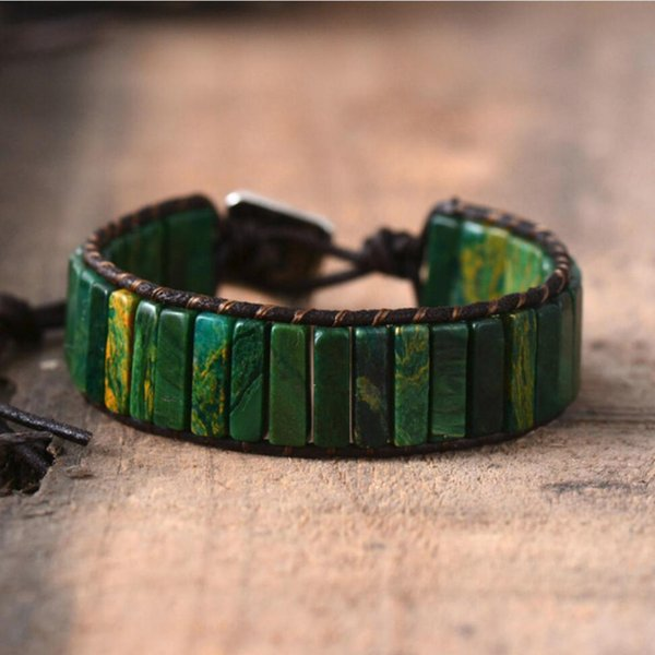 Leather Wrap Bracelet Handmade Natural Stone Tube Beads Vintage Cuff Bracelet New Fashion Bracelets Creative Gifts