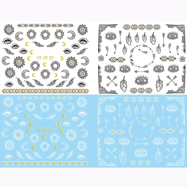 24pcs Vintage Nail Tattoo Design Nail Stickers 3D Nail Art Decoration Stickers Decals Black White Beauty Products