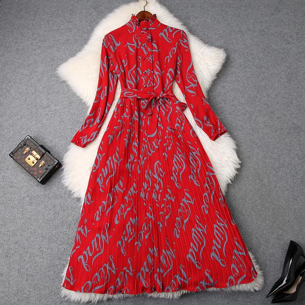 Vintage Red Ruffled Letter Printed Chiffon Long Dress For Spring 2019 Women Long Sleeve Elegant Slim Maxi Dress
